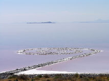 Spiral Jetty, earthwork. A view of Spiral Jetty, Robert Smithson's masterpiece earthwork, which is on the north side of the Great Salt Lake, about two-and-a-half Stock Photo