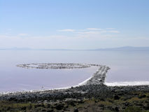 Spiral Jetty in Salt Lake, Utah. Artwork the Spiral Jetty in 2005, Robert Smithsons masterpiece earthwork, on the north side of the Great Salt Lake, about two Stock Images