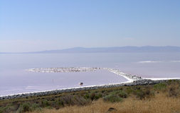 Spiral Jetty, masterpiece earthwork. A view of Spiral Jetty, Robert Smithson's masterpiece earthwork, which is on the north side of the Great Salt Lake, about Stock Images