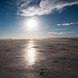 Spiral Jetty. In Salt Lake City Utah, the water has receded so far you can barely see it. Now salt flats remain in the place of the water Stock Image