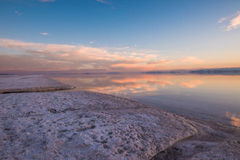 Spiral Jetty. In Salt Lake City Utah, the water has receded so far you can barely see it. Now salt flats remain in the place of the water Stock Photo