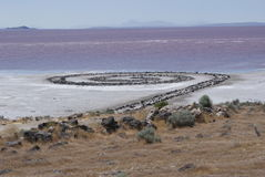 The Spiral Jetty. Is a work of art by sculptor Robert Smithson; it lies in the northern part of the Great Salt Lake, Utah Stock Image