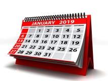 Spiral kalender Januari 2019 Januari 2019 kalender i vit bakgrund illustration 3d royaltyfri illustrationer
