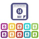 Spiral kalendersida 14th av lägenheten för Maj symbolsuppsättning Fotografering för Bildbyråer