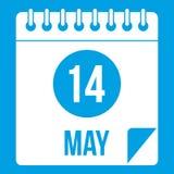 Spiral kalendersida 14th av Maj symbolsvit Royaltyfria Foton