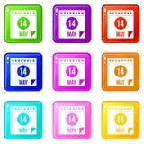 Spiral kalendersida 14th av uppsättningen för Maj symboler 9 Fotografering för Bildbyråer