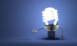 Spiral light bulb character making inviting gesture Royalty Free Stock Image