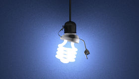 Spiral light bulb character in socket, moment of insight Royalty Free Stock Images