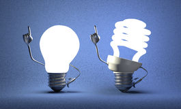 Spiral light bulb character and tungsten one with ideas Royalty Free Stock Photography
