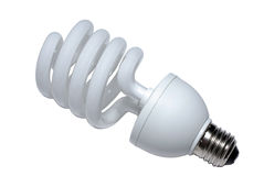 Spiral light bulb lamp isolated on white background economical fluorescent lightbulb CFL new energy economic modern saver saving. Clipping path Stock Image