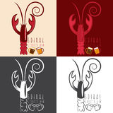Spiral lobster bar with beer vector  template Stock Photos