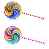 Spiral lollipop. Spiral rainbow lollipop - isolated on white background Stock Images