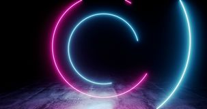Spiral Loopable Neon Glowing Fluorescent Retro Sci Fi Futuristic Purple Blue Laser Circle Rotating Lights On Dark Grunge Concrete