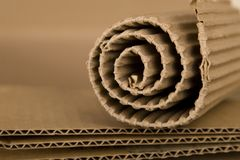 Spiral made from cardboard. Close-up of spiral made from brown cardboard Stock Photos
