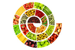 Spiral made of  fruits and vegetables. Spiral made of various fruits and vegetables Royalty Free Stock Photography