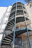 Spiral metal stairs. Spiral stairs with metallic railing Royalty Free Stock Images