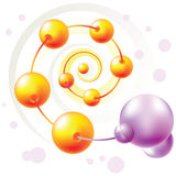 Spiral molecule. Color spiral molecule and molecule attached to a row Stock Photos