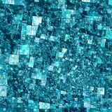 Spiral Mosaic Background Pattern - Squares In Blue. Geometric mosaic design created with grids and squares in blue, green and aqua colors using a Droste spiral Royalty Free Stock Photo