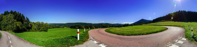 Spiral mountain road panoramic view Royalty Free Stock Images