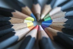 Spiral of multi coloured pencils Stock Photo