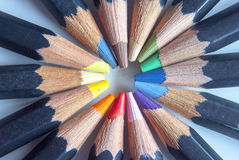 Spiral of multi coloured pencils Royalty Free Stock Photography