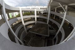 Spiral multi storey carpark of an industrial building. Fisheye view. Stock Image