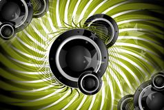 Spiral Music. Cool Music Theme with Bass Speakers. Green Spiral Background Stock Photo