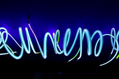 Spiral Neon Lights. Spiral blue neon lights close up royalty free stock photography