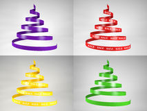 Spiral new year trees with sale text Stock Image