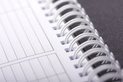 Spiral notebook. Macro close up royalty free stock image