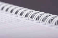 Spiral notebook. Macro close up stock photo