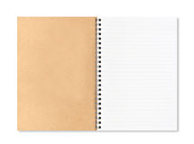 Spiral notebook. A blank brown cover and a spiral notebook with a blank page with lines Stock Photography