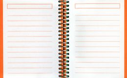 Spiral notebook. Two blank pages in a spiral notebook stock photography