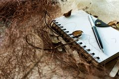 Rustic Spiral Notebook. Spiral notebook on a background with rustic setup Stock Photos