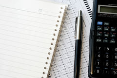 Spiral Notebook and Calculator Royalty Free Stock Photos