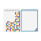 Spiral notebook with colorful geometric pattern Stock Photography