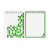 Spiral notebook with green geometric pattern Stock Photos
