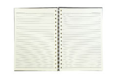 Spiral notebook with line paper isolated on white. Stock Images