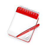 Spiral notebook with pen. Computer illustration, isolated on white Stock Photos
