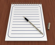 Spiral notebook with pen, on wood. 3d illustration Stock Images