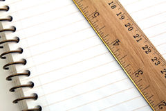 Spiral notebook with ruler Stock Photo