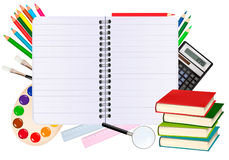 Spiral notebook with school supplie Stock Image