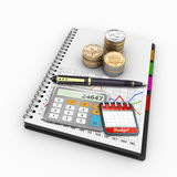 Spiral notebook on the topic of economics and finance Stock Images
