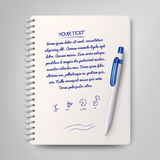 Spiral notebook and white ballpoint pen. Vector illustration Royalty Free Stock Images
