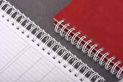 Spiral notebooks. Two spiral notebooks close up royalty free stock photo