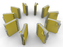 Spiral notebooks circular pattern Stock Photo