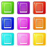 Spiral notepad icons 9 set Royalty Free Stock Photography