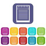Spiral notepad icons set flat Royalty Free Stock Image
