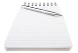 Spiral notepad and pen. Spiral bound notepad and pen with copy space  on white background Stock Image