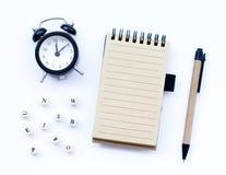 Spiral notepad with a pencil. stock photos